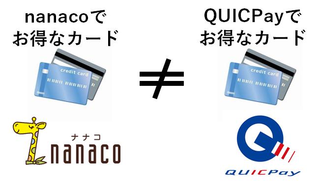クイックペイとnanacoでお得なカードが異なる